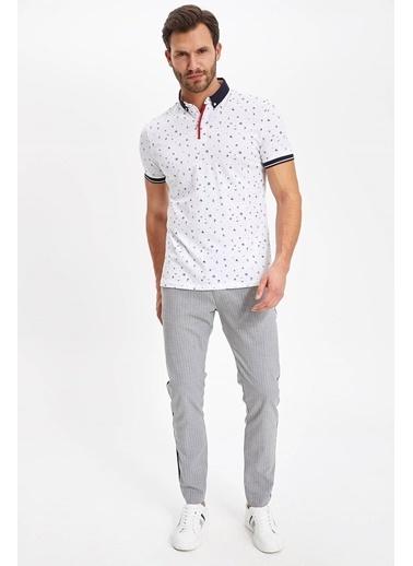 DeFacto Slim Fit Kısa Kollu Polo T-shirt Beyaz